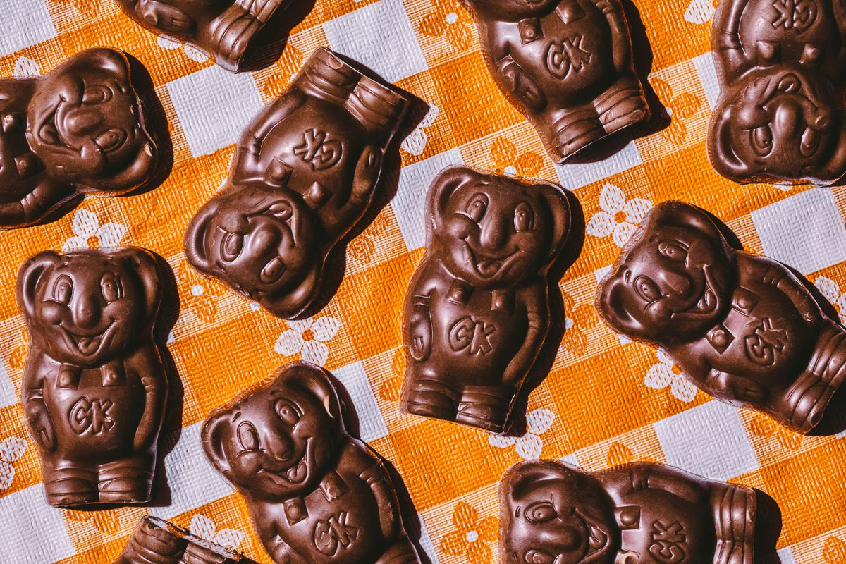 Koala-shaped chocolates in an abstract pattern