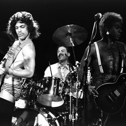 Performing at the Ritz Carlton in 1981 in panties and thigh-high stockings.