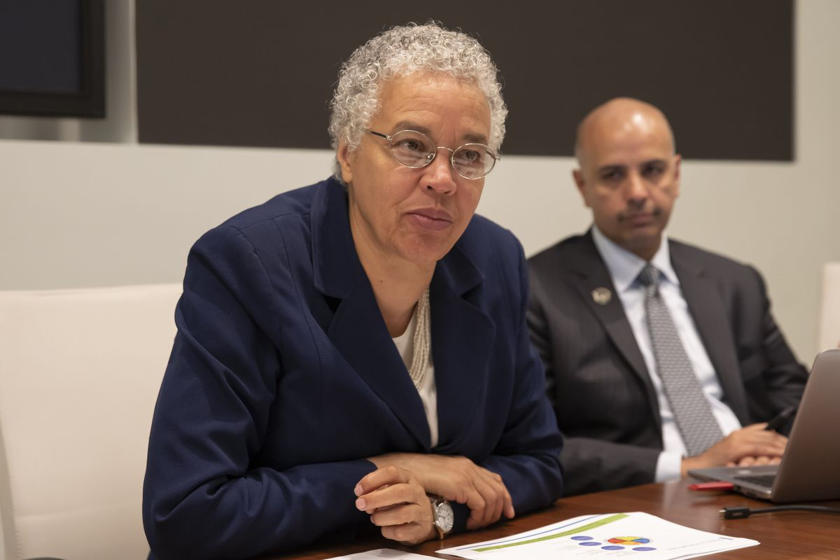 Cook County Board President Toni Preckwinkle, with Chief Financial Officer Ammar M. Rizki last year.