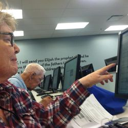 Virginia Bartelt and her husband, Paul, index names from the 1940 U.S. Census in the Riverton FamilySearch Library on April 12, 2012.