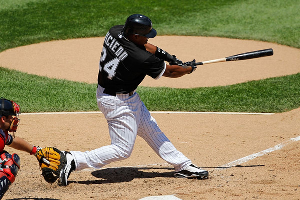 CHICAGO - JUNE 24: Dayan Viciedo #24 of the Chicago White Sox hits a double against the Atlanta Braves at U.S. Cellular Field on June 24, 2010 in Chicago, Illinois. (Photo by Jonathan Daniel/Getty Images)