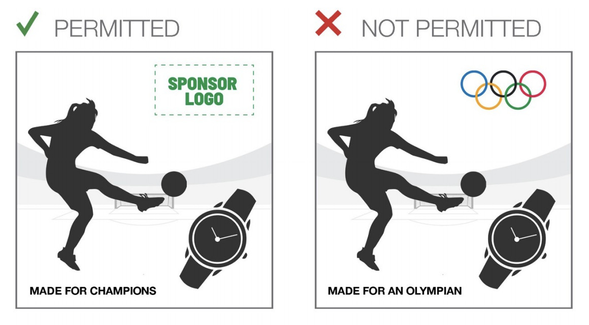 A pair of pictures showing what is and isn't allowed in athlete ads from sponsors — in this ad, the Olympic rings aren't permitted.