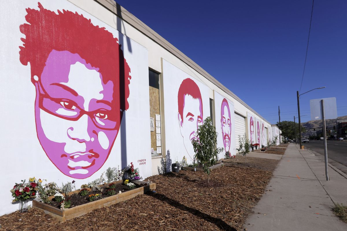 Murals honor Cindreia Simone Europe, who was run over and killed by a police officer, and other alleged victims of police violence near the corner of 300 West and 800 South in Salt Lake City on Tuesday, Sept. 1, 2020.