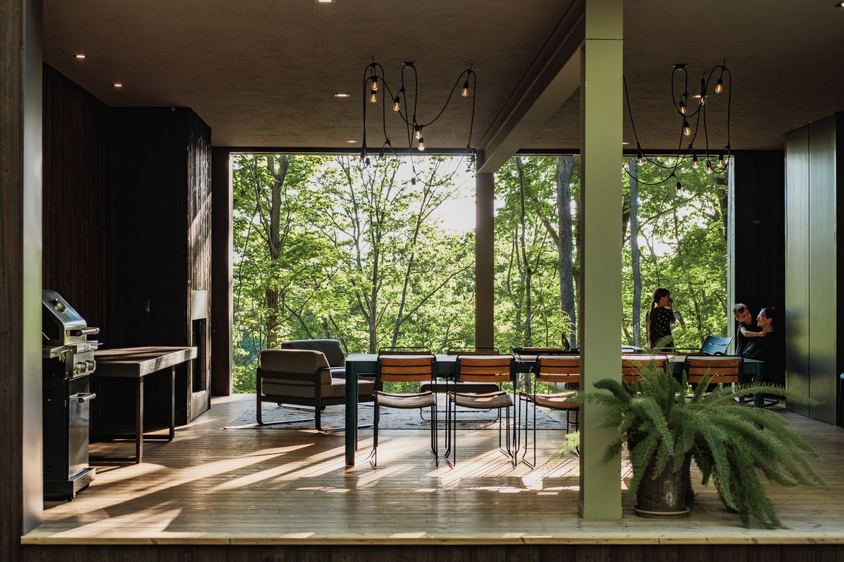 Dining room with edison lights dangling over table and glass walls overlooking the forest.