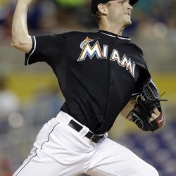 Miami Marlins starting pitcher Jacob Turner throws in the second inning during a baseball game against the Cincinnati Reds, Friday, Sept. 14, 2012, in Miami.