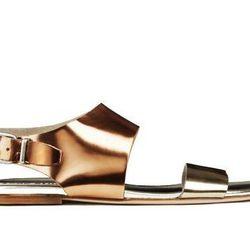"""<b>Acne Studios</b> Lottie Metallic Sandals, <a href=""""http://www.acnestudios.com/shop/women/shoes/lottie-metallic.html"""">$390</a>"""