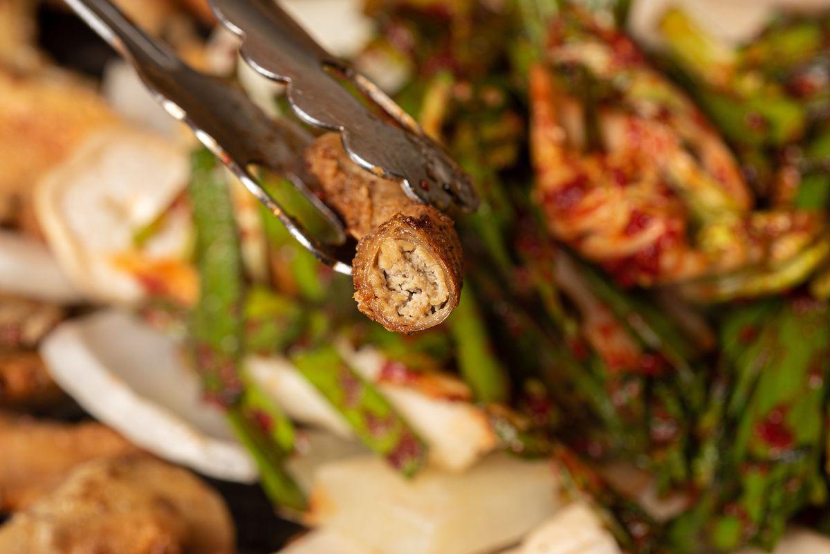 Close-up shot of gopchang over grill