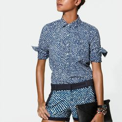 Boy shirt in bleached out indigo and abstract diamond shorts.