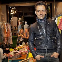 The always-stylish George Kotsiopoulos paired his dope D&G moto jacket with an Etro scarf, Jaeger LeCoultre watch and Bottega Veneta belt.