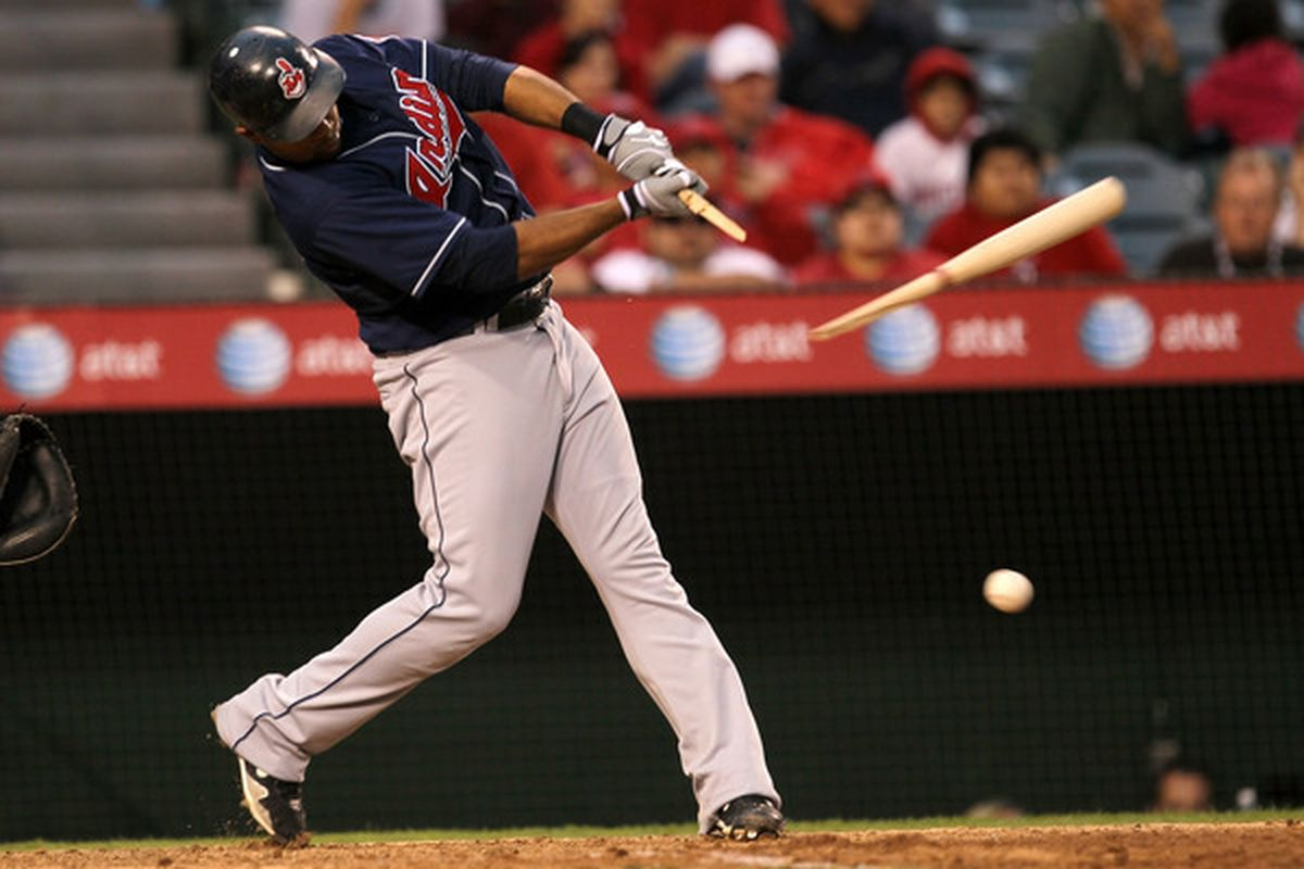 ANAHEIM CA - SEPTEMBER 8: Andy Marte #25 of the Cleveland Indians breaks his bat in the game with the Los Angeles Angels of Anaheim on September 8 2010 at Angel Stadium in Anaheim California.  (Photo by Stephen Dunn/Getty Images)