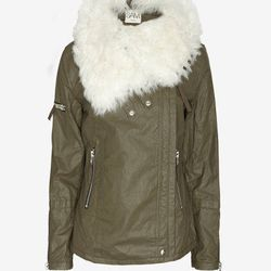 """Sam Chelsea <a href=""""http://www.intermixonline.com/product/sam+chelsea+shearling+collar+biker+jacket.do?sortby=ourPicks&CurrentCat=105416"""">$240</a> (was $795) at Intermix (discount applied at checkout)"""