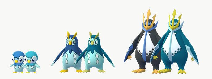 Piplup, Prinplup, and Empoleon all stand with their Shiny versions