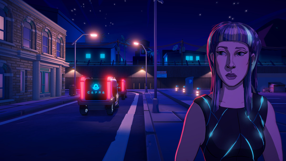 Lina, star of Neo Cab, stands on a dark street.