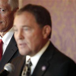 Soon-to-be Gov. Gary Herbert, right, announces Senate Majority Assistant Whip Greg Bell as Utah's new lieutenant governor Wednesday.