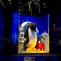 """""""Penguin With Coveted Holiday Gift.,"""" as this one's known, is inspired by a bag from 1992."""