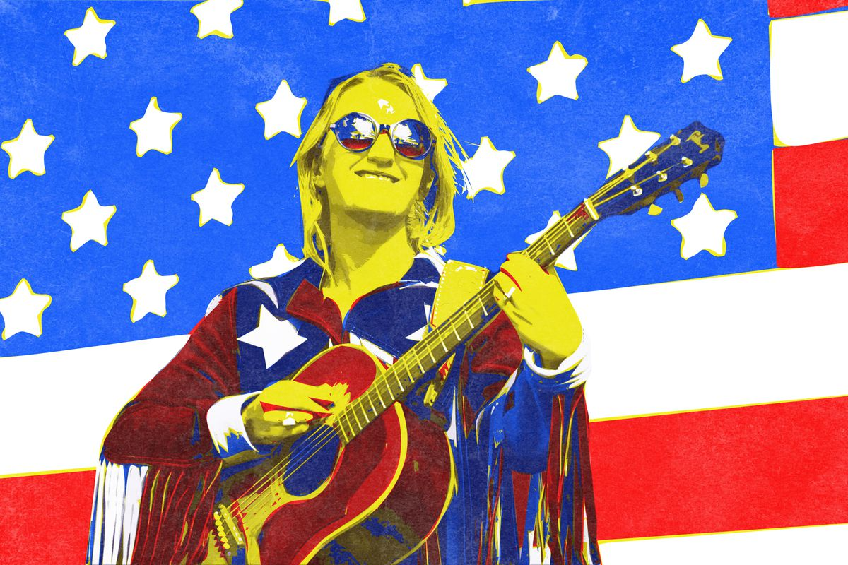 Illustration of Margo Price playing a guitar in front of the American flag
