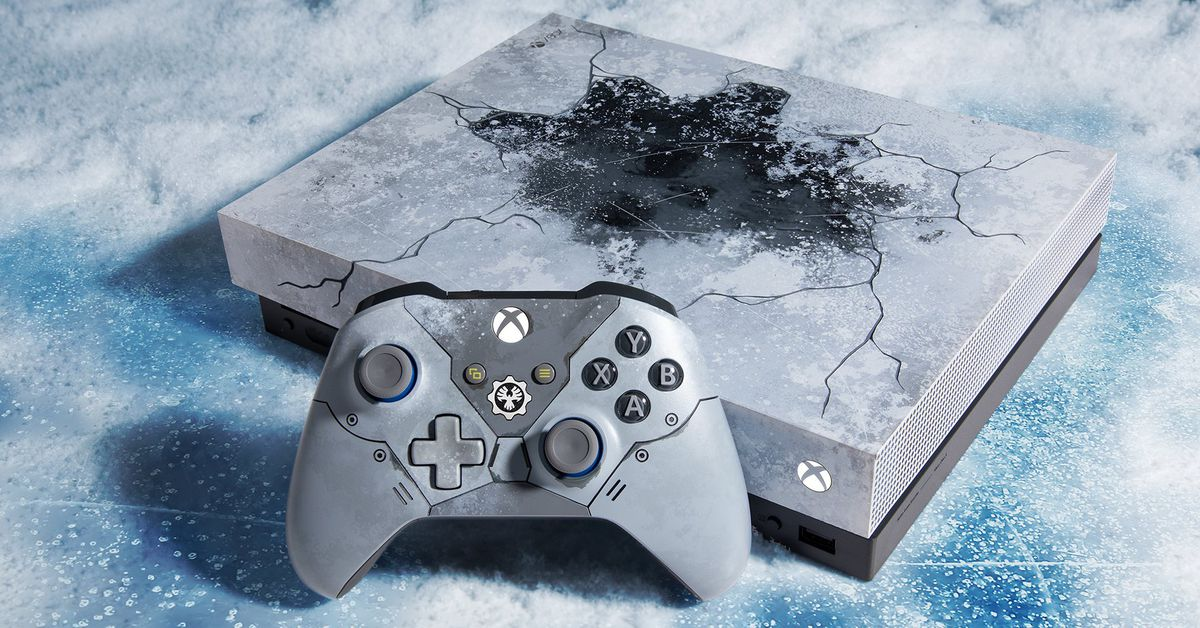 Microsoft unveils Gears-themed Xbox One X console that looks frozen - The Verge thumbnail