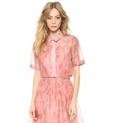 """<i>Whistles top, <a href=""""http://www.shopbop.com/juno-flamingo-feather-print-top/vp/v=1/1559185810.htm?fm=search-viewall-shopbysize"""">$500</a></i><br> """"I'm obsessed with UK brand, Whistles, which is new to Shopbop this season.  This pale pink organza crop"""