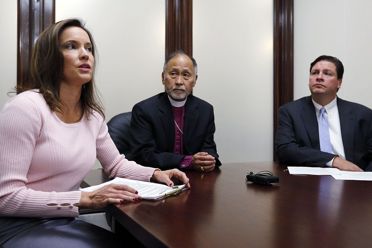 Karina Andelin Brown speaks to members of the media after the Utah Decides Healthcare ballot proposal was officially filed at the Utah Lieutenant Governor's Office at the Capitol in Salt Lake City on Monday, Oct. 2, 2017. If approved by voters on Election Day in November 2018, the proposal will ensure medical care for all individuals and families in Utah with incomes less than 138 percent of the federal poverty line.