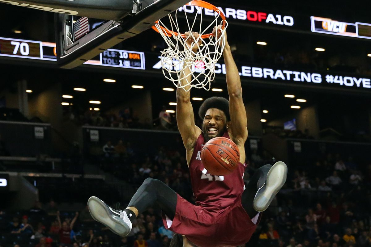 DeAndre' Bembry hammers home a dunk for St. Joe's.