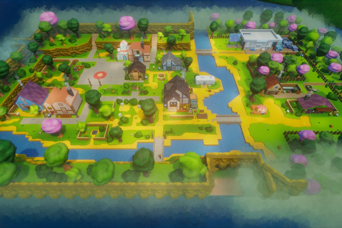 An overview of Pelican Town, remade in Dreams, with several houses, dirt and brick paths, trees, and fenced off areas