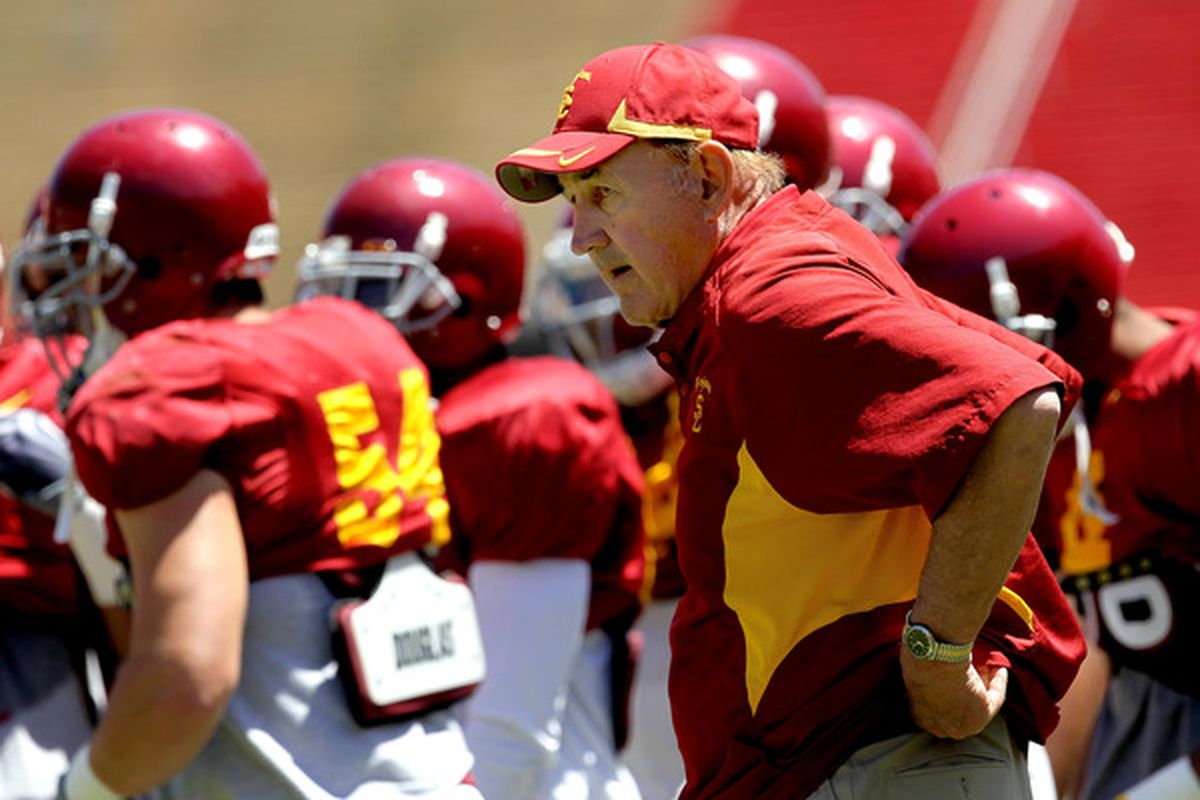 Monte Kiffin is apparently shaking the Nebraska coaching tree to help son Lane fill a couple of spots on the USC coaching staff.  (Photo by Stephen Dunn/Getty Images)