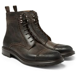 """<a href=""""http://www.mrporter.com/mens/okeeffe/waxy-commander-balantyne-leather-brogue-boots/496850"""">O'Keeffe brogue boots</a>, $825 <br>""""So you're either aquaplaning in leather-soled shoes or clogging about in hefty mountain boots? You need the durable u"""