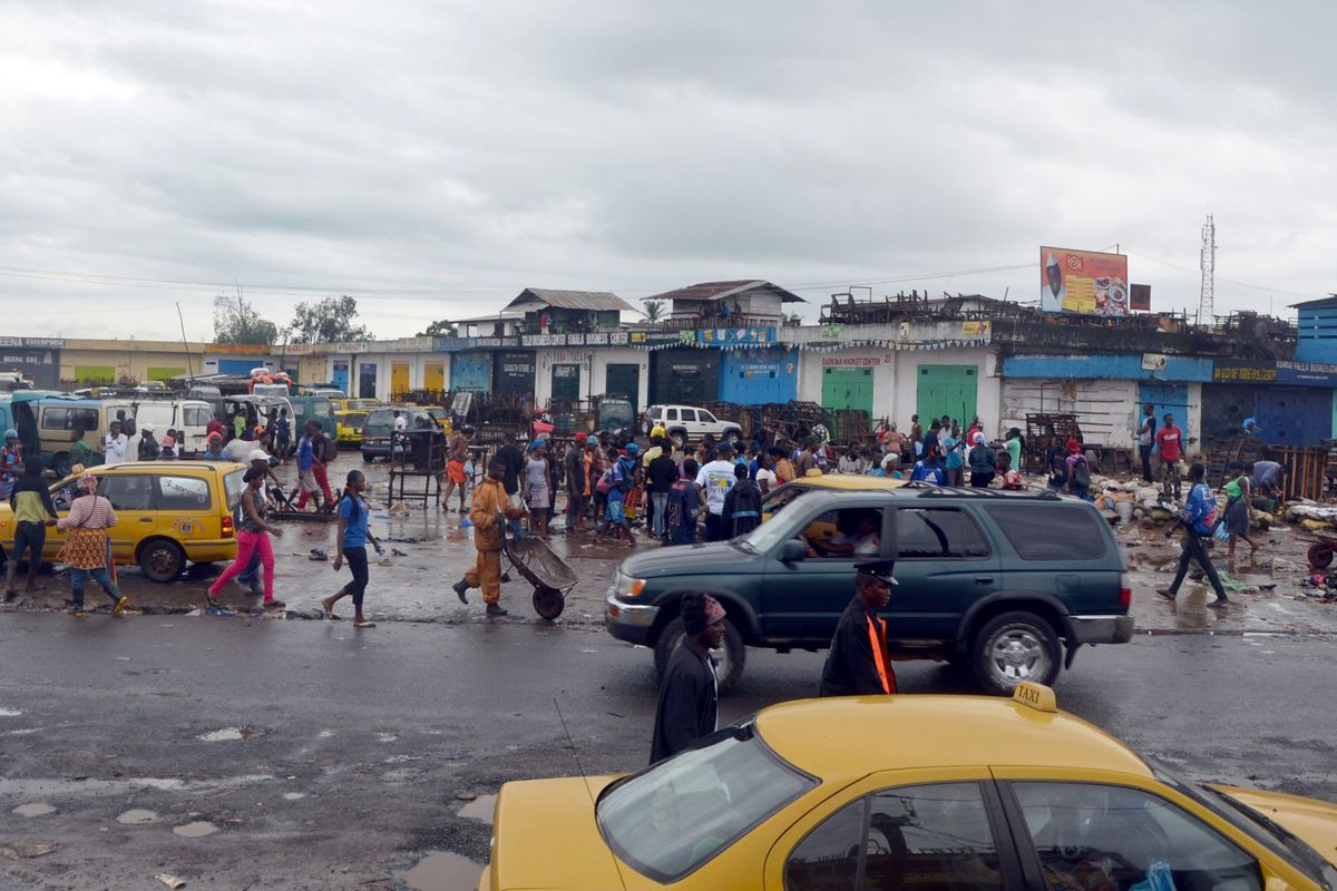 Monrovia, Liberia where offices and shops were closed as part of a disinfection campaign against Ebola.