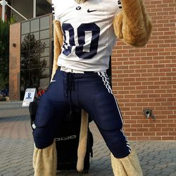 Cosmo strikes a pose before the Boise State vs Brigham Young University football game in Boise, Thursday, Sept. 20, 2012.