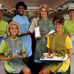 """All 6 variations of the 60s uniforms, including the paisley smocks. Photo via <a href-""""http://www.deltamuseum.org/explore/history/delta-brand/uniforms/propeller-era-uniforms-1940-1959"""">DeltaMuseum.org.</a>"""