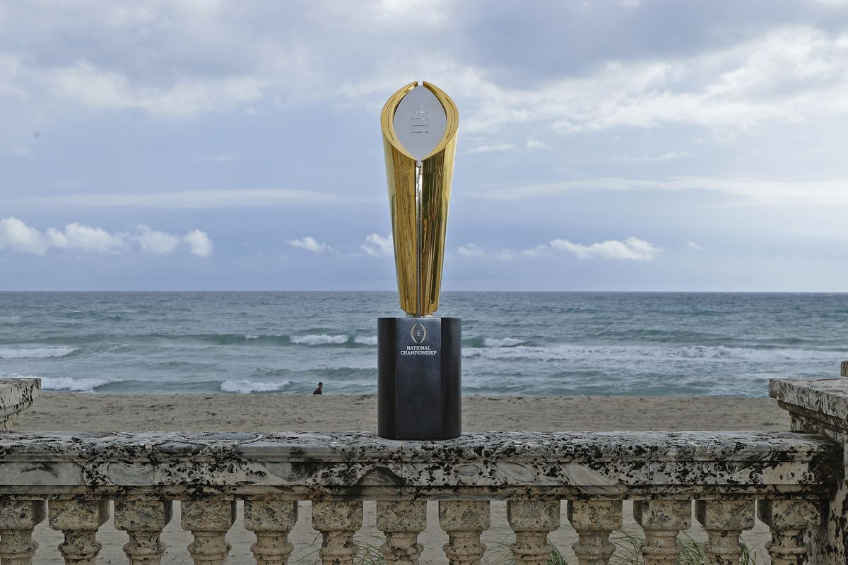 The College Football Playoff National Championship Trophy is displayed on November 12, 2020 in Palm Beach, Florida. The Championship game will be played at Hard Rock Stadium on January 11, 2021.