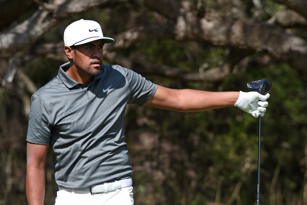 Tony Finau plays his shot from the 14th tee during the first round of the Valero Texas Open at TPC San Antonio Oaks Course on April 01, 2021 in San Antonio, Texas.