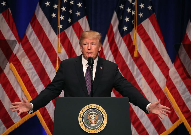 President Donald Trump gives a speech about his national security strategy on December 18, 2017.