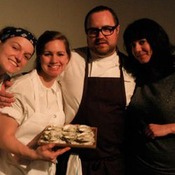Jamie Bissonnette, Toro GM Jen Fields and crew with a plate of pickled oysters.