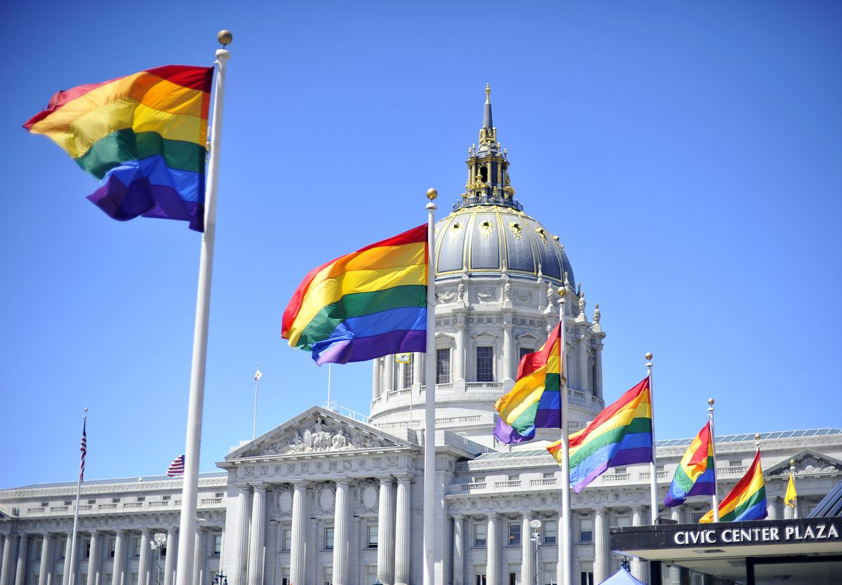 LGBT flags San Francisco City Hall