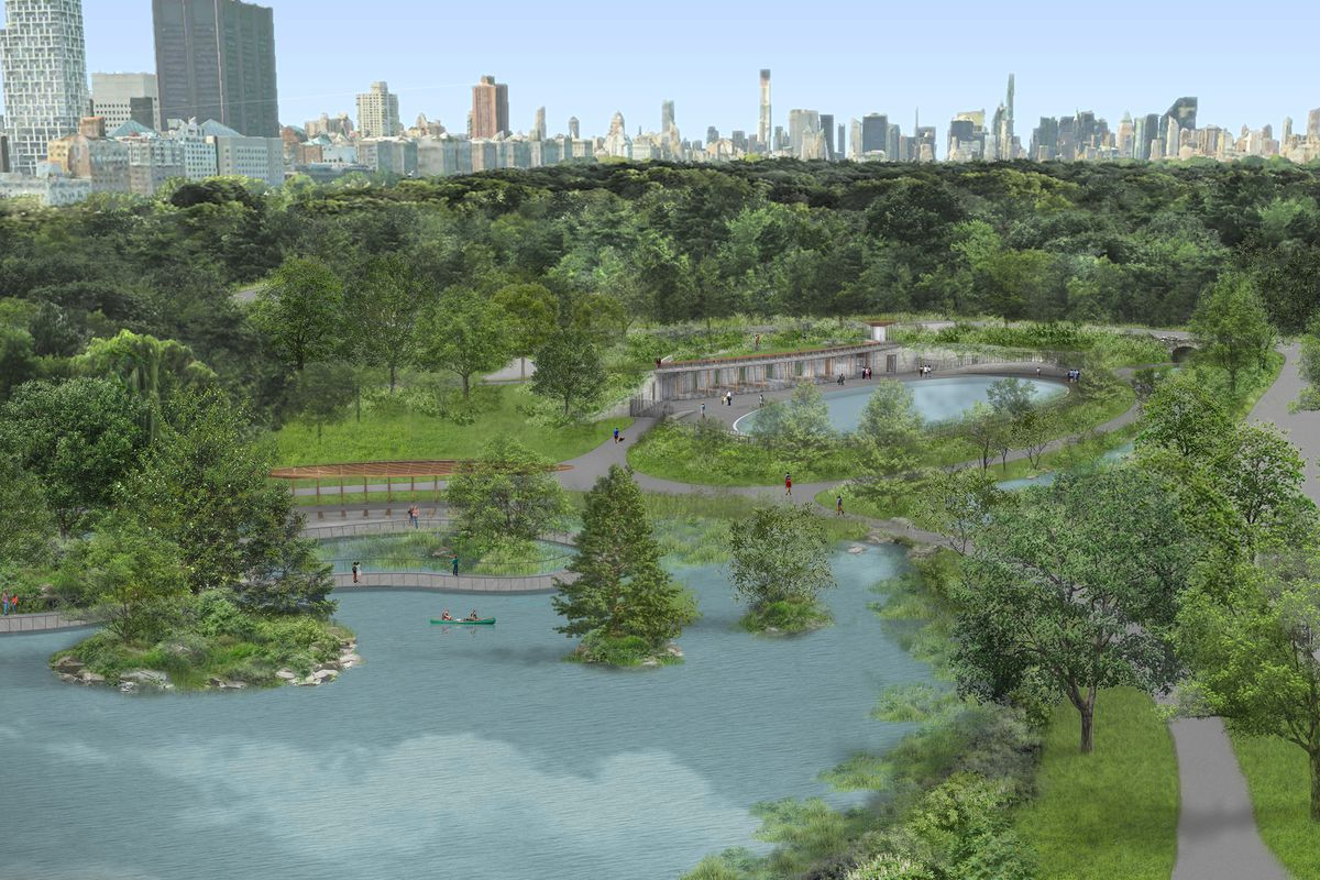 A bird's eye view overlooking the Central Park north end area including the Harlem Meer.