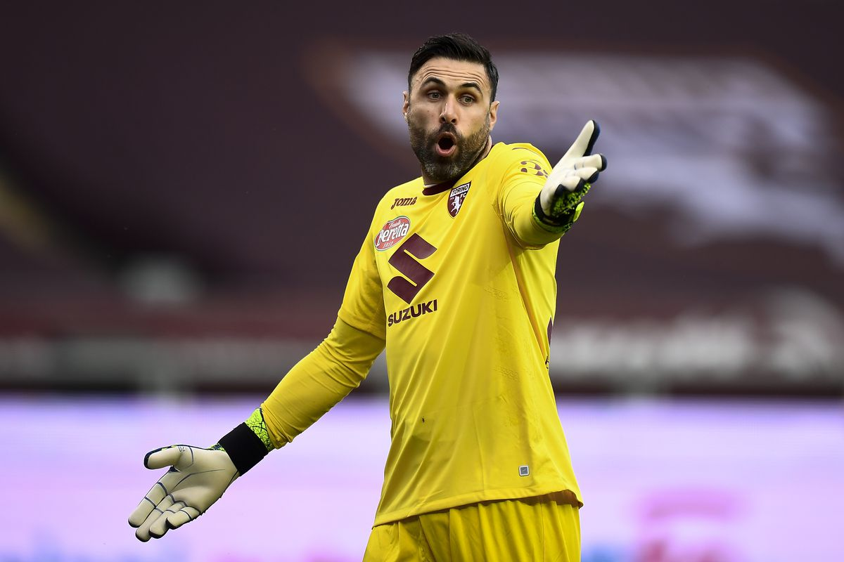 Salvatore Sirigu of Torino FC reacts during the Serie A...