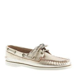 """Boat shoes may not be completely waterproof, but they'll put up a good fight. This Sperry for J. Crew pair will add a little glamour to a preppy ensemble. $98 at <a href=""""https://www.jcrew.com/womens_category/shoes/boatshoes/PRDOVR~20508/20508.jsp"""">J. Cre"""