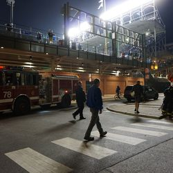 CFD responding to a woman who had fallen on the Waveland Avenue sidewalk