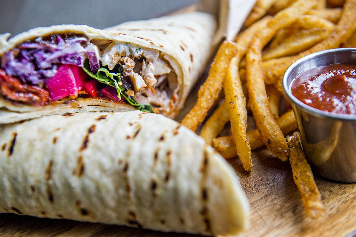 Mother Tongue's chicken schwarma with tahini slaw and house made tzatziki.