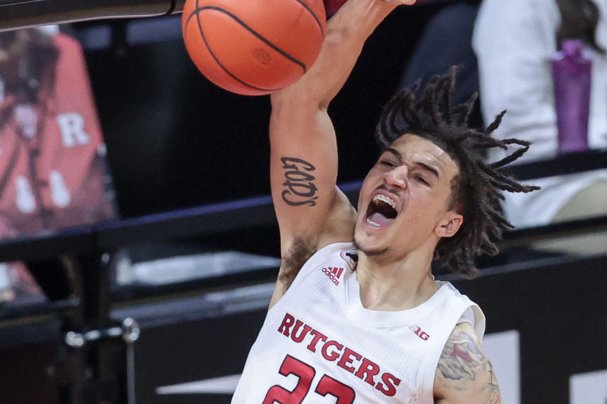 Rutgers Scarlet Knights guard Caleb McConnell dunks the ball during the second half against the Minnesota Golden Gophers at Rutgers Athletic Center (RAC).