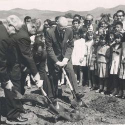 On Nov. 4, 1963, Elder Marion G. Romney of the Quorum of the Twelve broke ground to begin constuction on the LDS Church-owned Benemerito de las America's school.