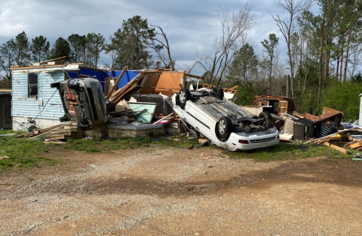 Tornado damage in Calhoun County, AL