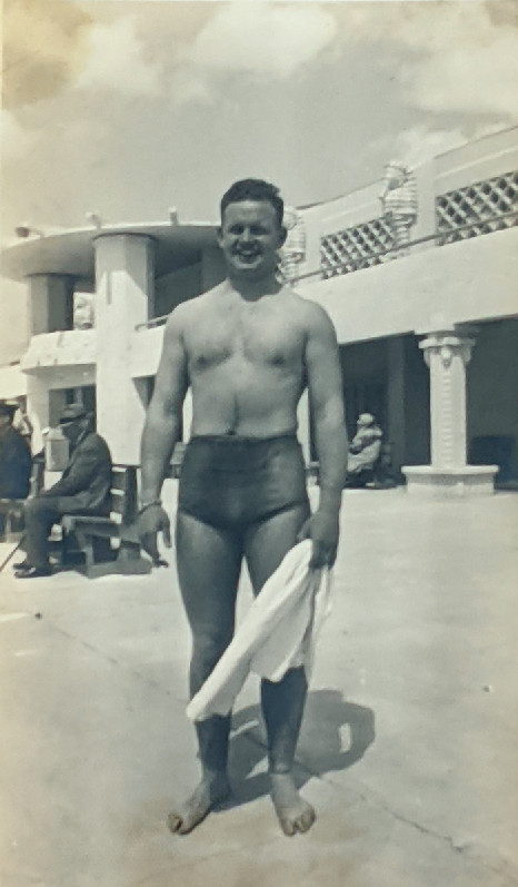 """A young James """"Bud"""" Wilschke in his summer days as a lifeguard."""