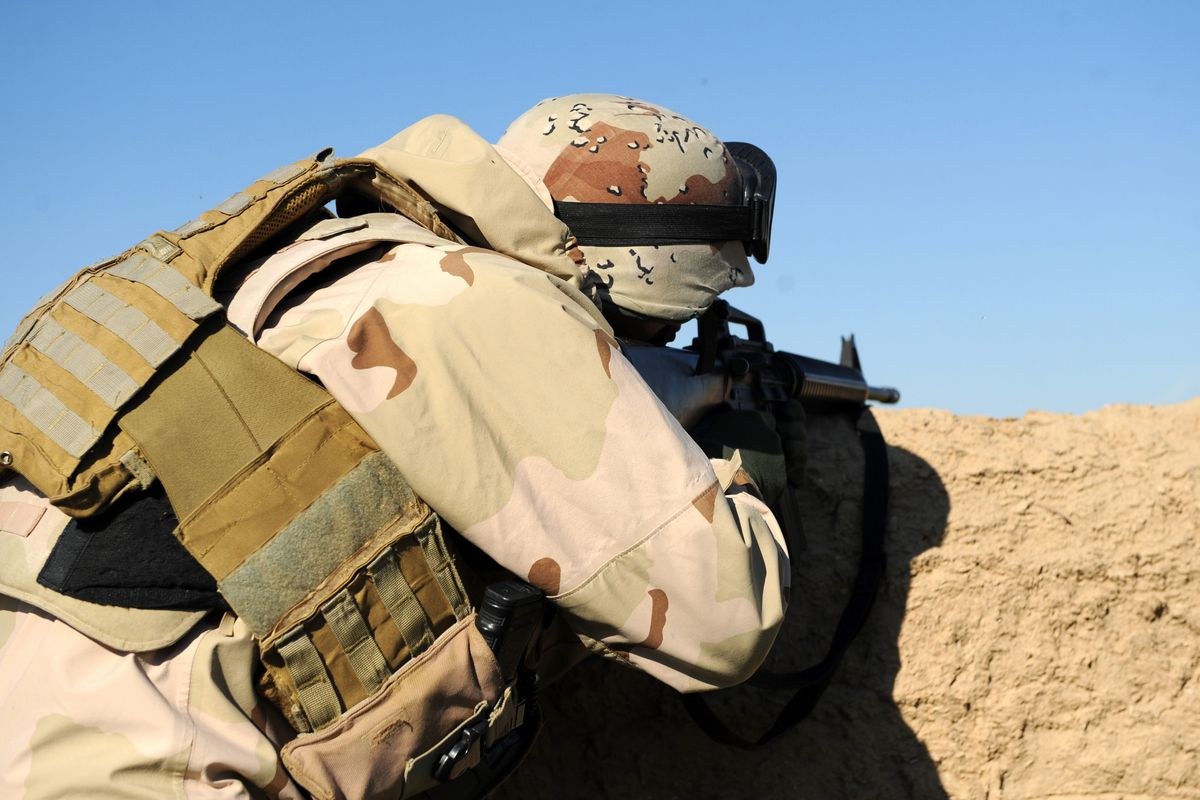 A peshmerga soldier in position during combat with ISIS forces.