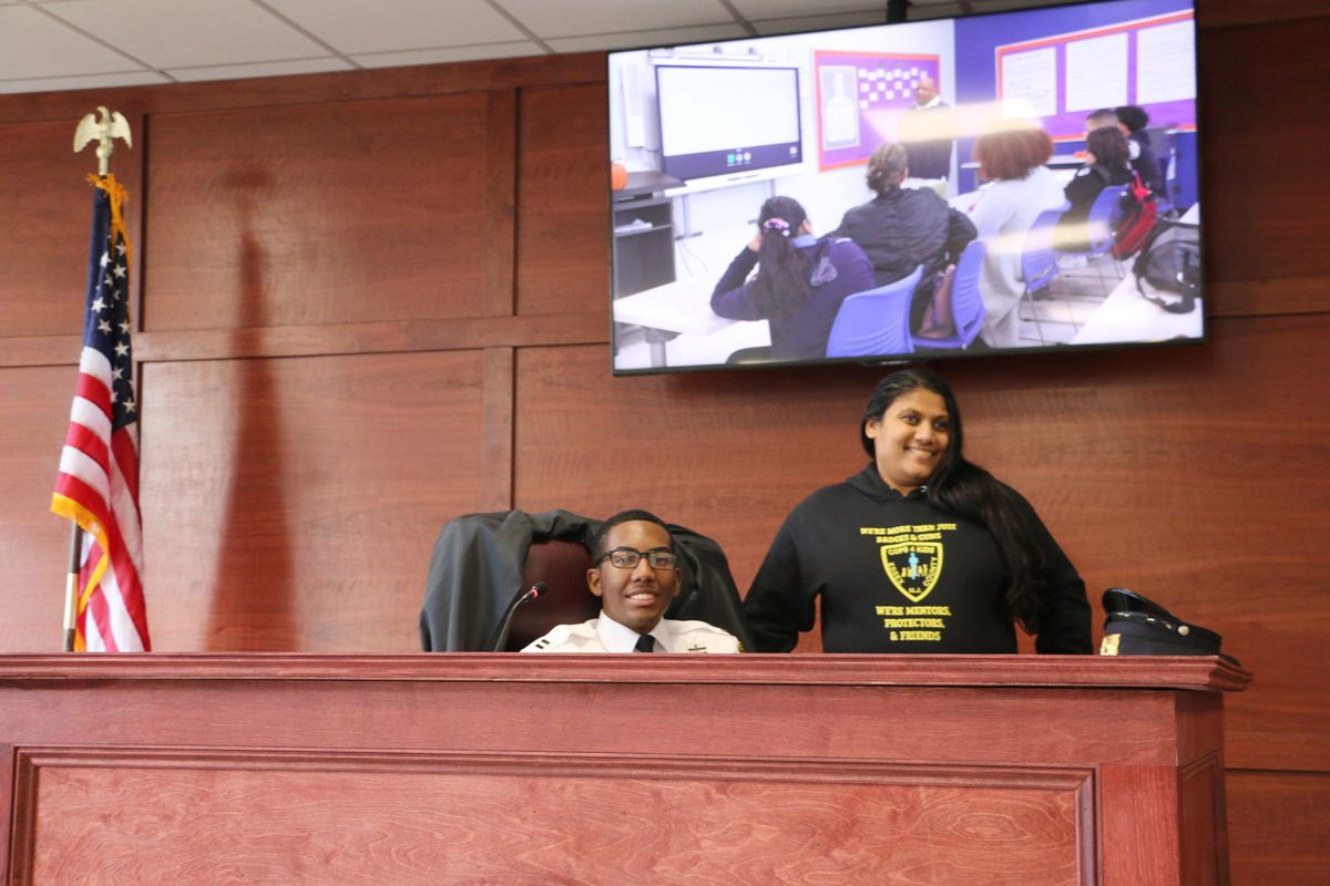 Barringer High School's new law and public safety academy has its own mock courtroom.
