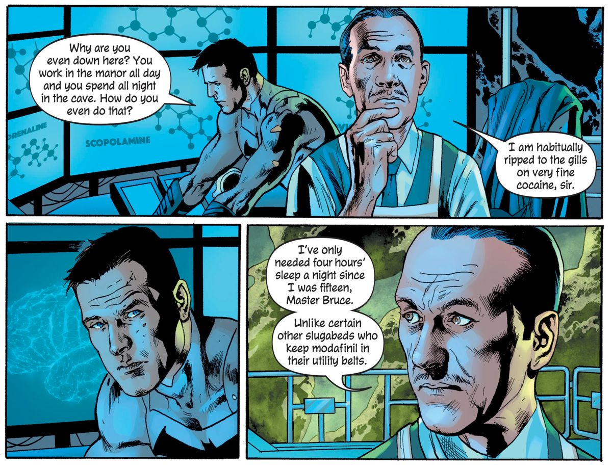 """Bruce asks Alfred how he needs so little sleep, and the butler deadpans that he is """"habitually ripped to the gills on very fine cocaine, sir,"""" in The Batman's Grave, DC Comics (2019)."""