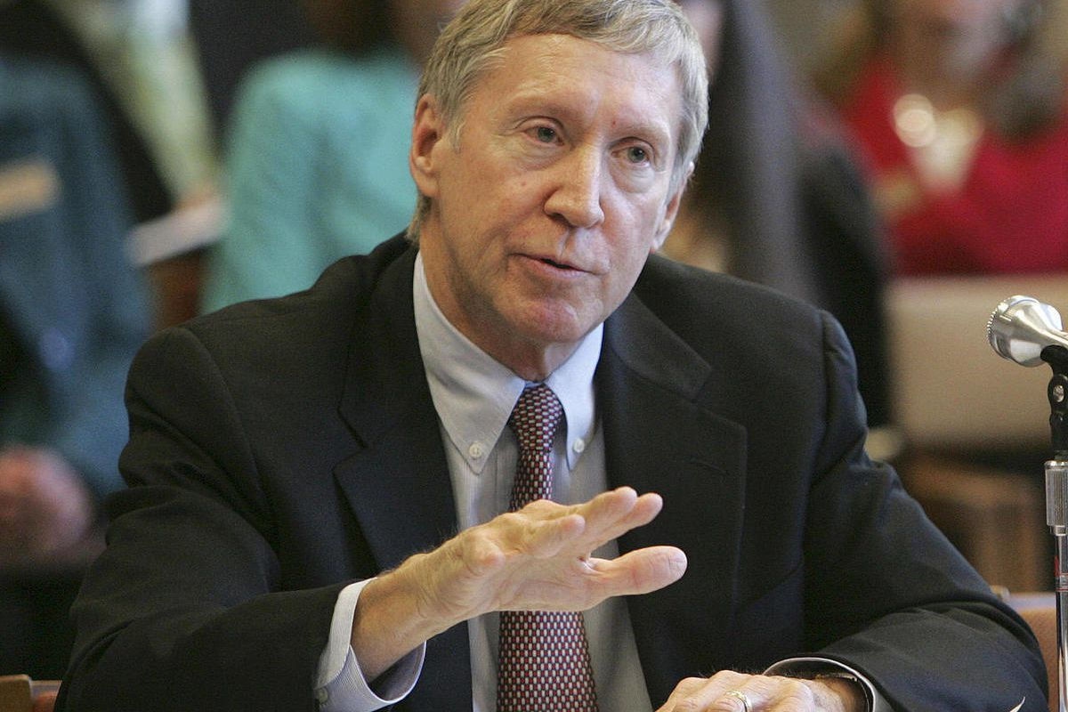 FILE - In this Nov. 19, 2010, file photo, University System Chancellor Edward MacKay testifies during budget hearings for more money for the university system in Concord, N.H. Now MacKay's future is uncertain as the Senate is to vote next week on whether