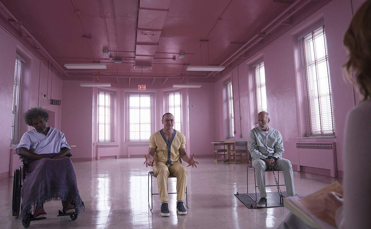 Samuel L. Jackson, James McAvoy, and Bruce Willis in Glass.
