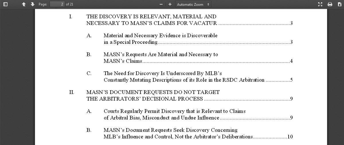 O's MASN Litigation Brief TOC